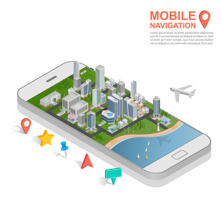 city background: 3d isometric mobile GPS navigation concept, vector Illustration