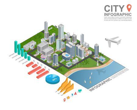 ESTADISTICAS: Conjunto de infografía isométrica de la ciudad, vector Vectores