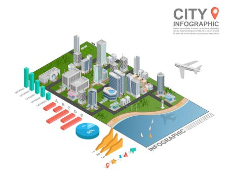 statistics: Set of isometric city infographic, vector
