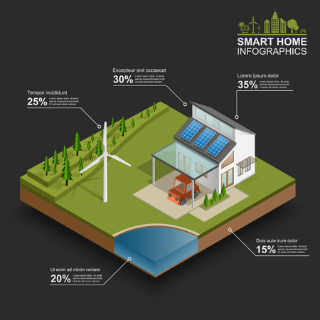 interior cell: Smart home  infographics, vector Illustration