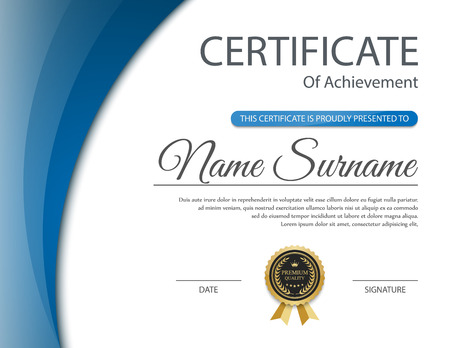 achieve: Certificate template, vector Illustration