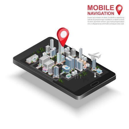 navegacion: Isométrico 3d concepto de navegación GPS móvil, Smartphone con aplicación de mapas de la ciudad y el puntero chincheta, vector