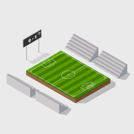 football kick: 3d isometric soccer field with scoreboard,vector Illustration