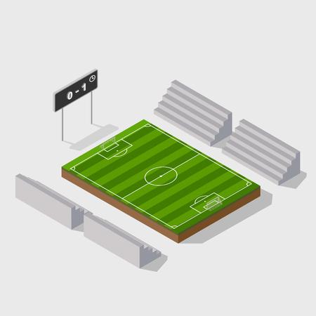 Terrain de football en 3D isométrique avec tableau de bord, vecteur