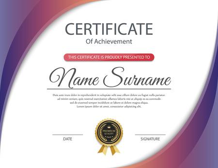 reconocimientos: Plantilla de certificado, vector