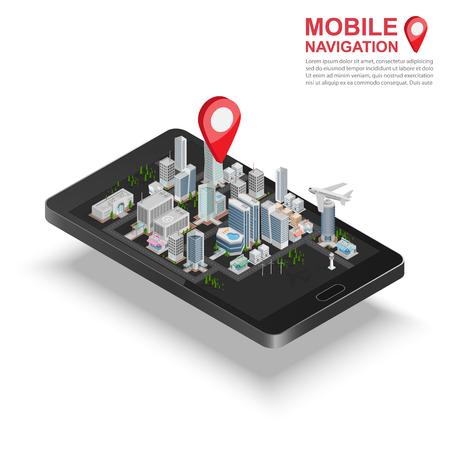 3D 아이소 메트릭 모바일 GPS 네비게이션 개념, 스마트 폰과 도시지도 응용 프로그램과 마커 핀 포인터, 벡터 일러스트