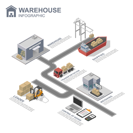 storage warehouse: 3d isometric warehouse infographics, vector