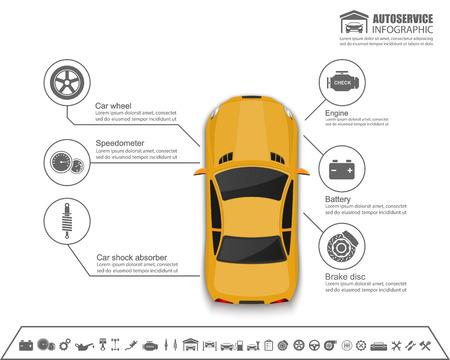 repuestos de carros: Alquiler de auto servicio infografía design.vector Vectores