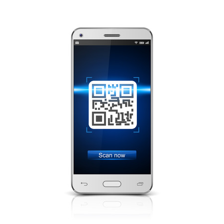 Smartphone scanned QR code, vector