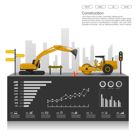 building materials: Construction infographics with construction machines,vector