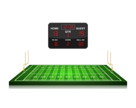 football field: American Football field with scoreboard,vector