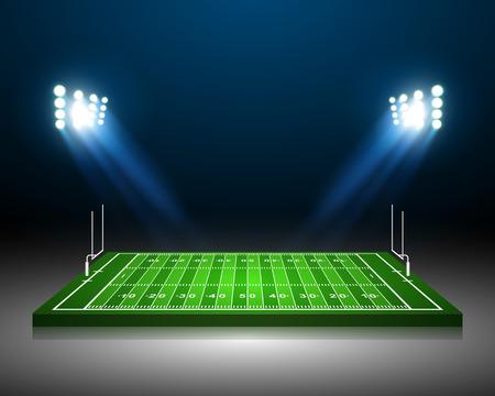 campeonato de futbol: Campo de fútbol americano, vector Vectores