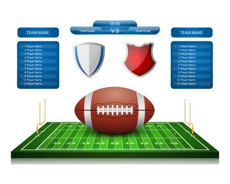 kickoff: American Football field with scoreboard,vector