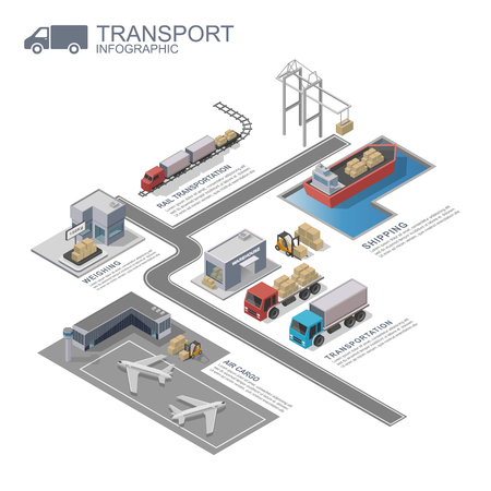 transportation company: 3d isometric Transportation Infographic, vector Illustration