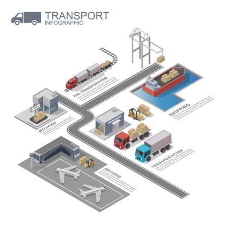 3d isometric Transportation Infographic, vector Stock Illustratie