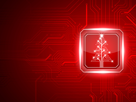 Abstract technology Christmas tree.vector