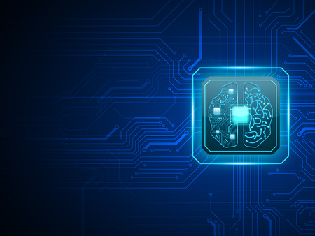 Vector cpu computer with brain, CPU computer technology, Electronic concept.