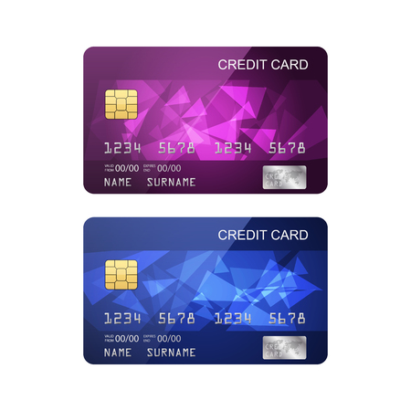 debit: Credit card isolated on white background, vector