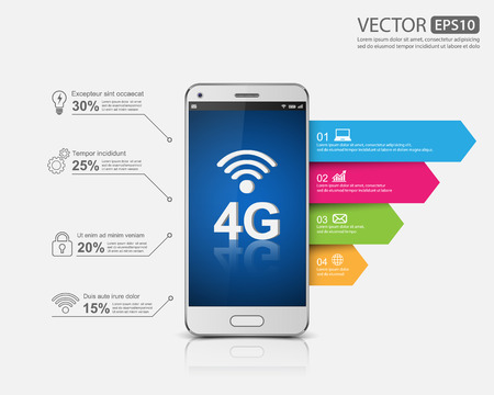 Smartphone with 4G sign icon, 4G concept, vector