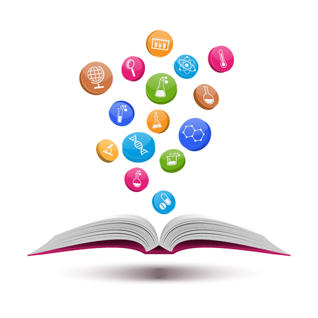 libro abierto: Libro abierto con el conjunto de la ciencia y la química icons.vector