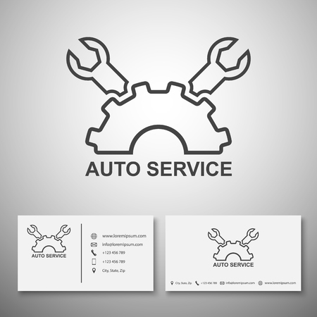 race car symbol: Car service logo,Business card template,vector