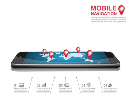 Smartphone gps navigatie icoon. vector illustratie