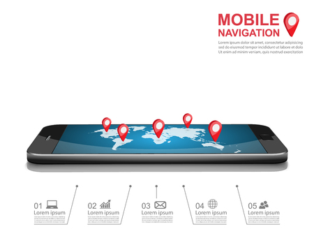 Smartphone gps navigation icon. Vector illustration