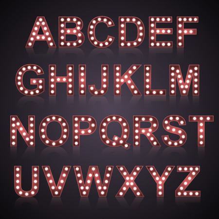 vegas sign: Alphabet set with bulb lamps