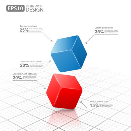 Business Info graphics cube 3d Ilustrace
