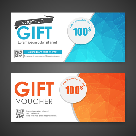 note paper background: Voucher, Gift certificate, Coupon template. Illustration