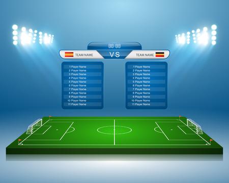 Boisko do piłki nożnej z tablicy wyników Ilustracje wektorowe