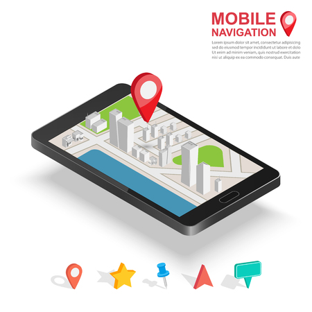 distance marker: 3d isometric mobile GPS navigation concept, Smartphone with city map application and marker pin pointer Illustration