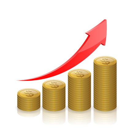 up arrow: Gold coins money,Business graph icon, Business success concept.