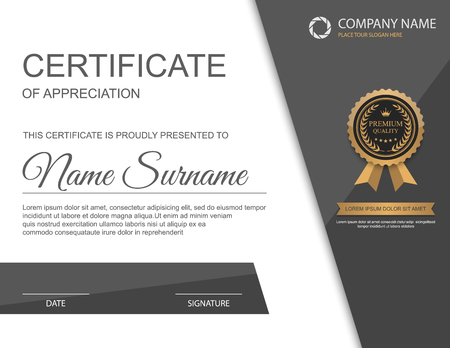 gold frame: Vector certificate template. Illustration