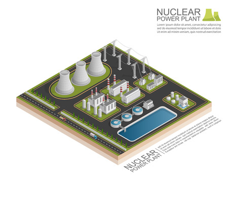 thermal power plant: Isometric Nuclear power plant, vecor