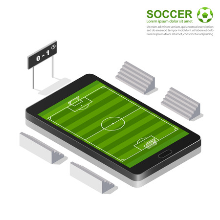 score board: 3d isometric soccer field  on smartphone , vector illustration Illustration