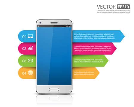 Infographic met een touchscreen smartphone voor Business, vector