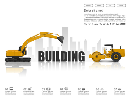 construction equipment: Building under construction concept with construction machines