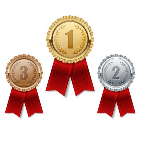 Zestaw medale złote, srebrne i brązowe. Ilustracje wektorowe