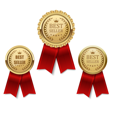 insignias: Mejor Conjunto de etiqueta de oro vendedor Vectores