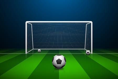 Ilustración de la meta del fútbol y la pelota. Foto de archivo - 55087381