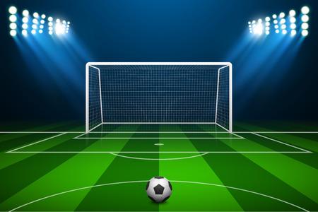cancha de futbol: ilustración de la meta del fútbol y la pelota.