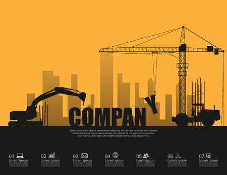 company: Company concept with construction machines