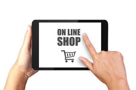 Hand holding digital tablet with online shopping on display, Online shopping concept