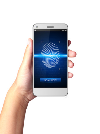 screen print: Hand holding Smartphone with Fingerprint scanners on display.