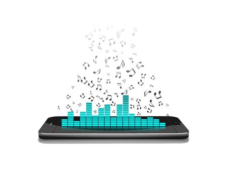 listening to music: Smartphone with music notes.vector