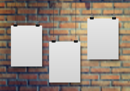 white blank: Empty white A4 sized paper hanging on the white brick wall, vector