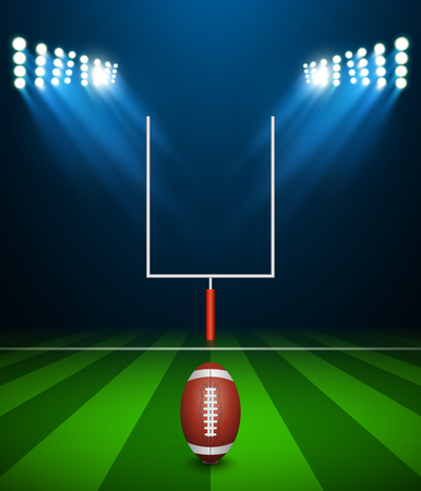goal post: American football on field with goal post, vector