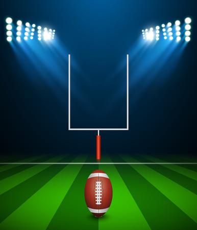 fútbol americano en campo con el objetivo, el vector Ilustración de vector