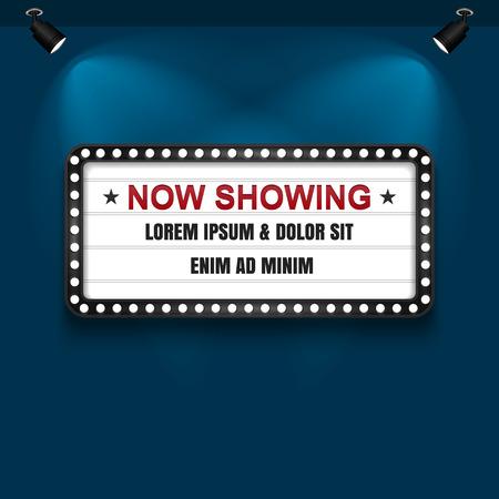 advert: Showtime Sign, Theatre cinema Sign, Vector illustration. Illustration